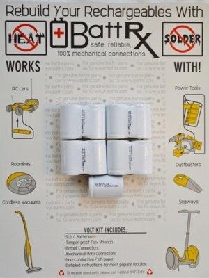 10.8V NiCad 1200 MAH 4/5 Sub C Rechargeable Battery Repair Kit