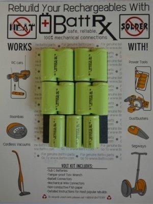 13.2V NiMH 2000 MAH 4/5 Sub C Rechargeable Battery Repair Kit