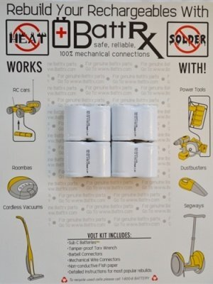 9.6V NiCad 1200 MAH 4/5 Sub C Rechargeable Battery Repair Kit
