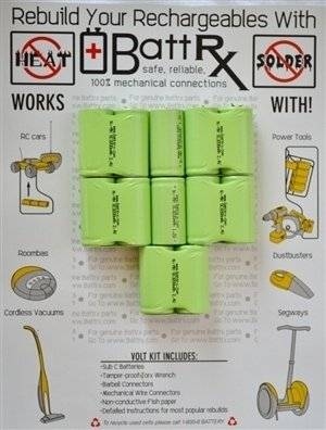 """Black & Decker Style 14.4V NiMH Rechargeable Battery Upgrade Kit (Sub C 4/5's size 1 1/4"""" Milspec Connectors) (Copy)"""